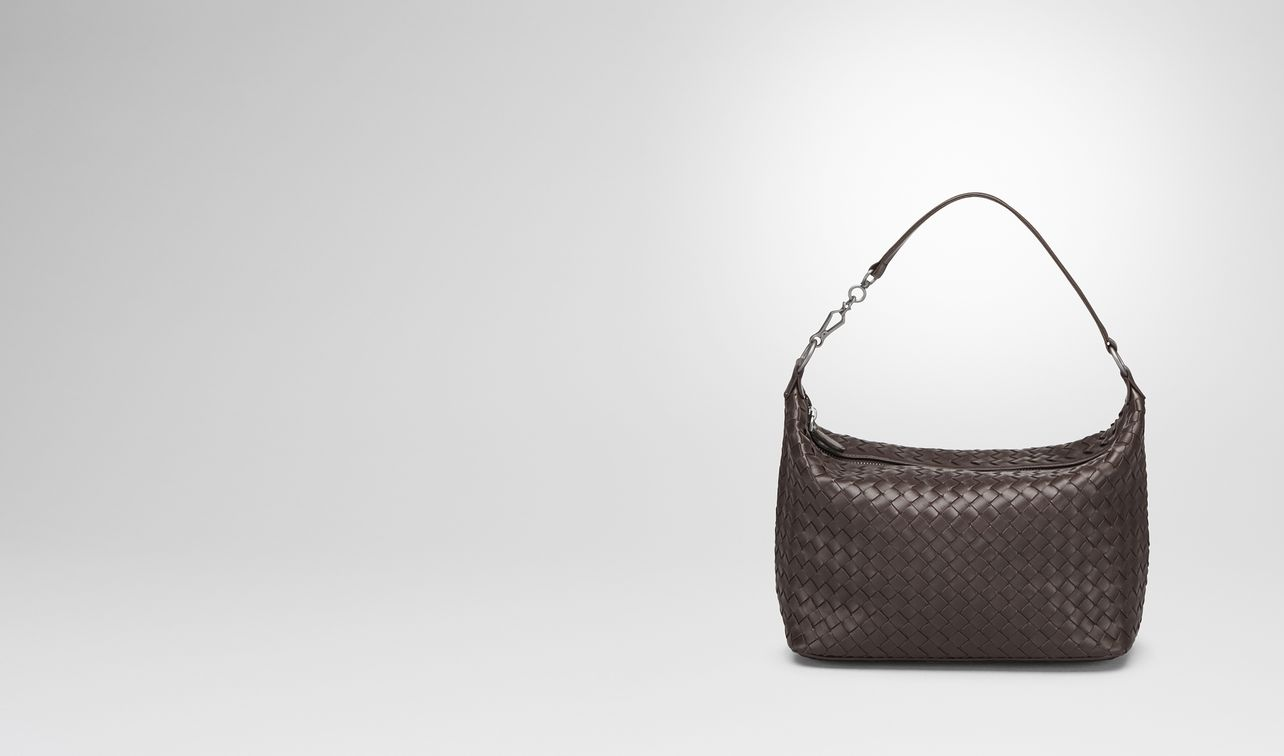small shoulder bag in espresso intrecciato nappa landing