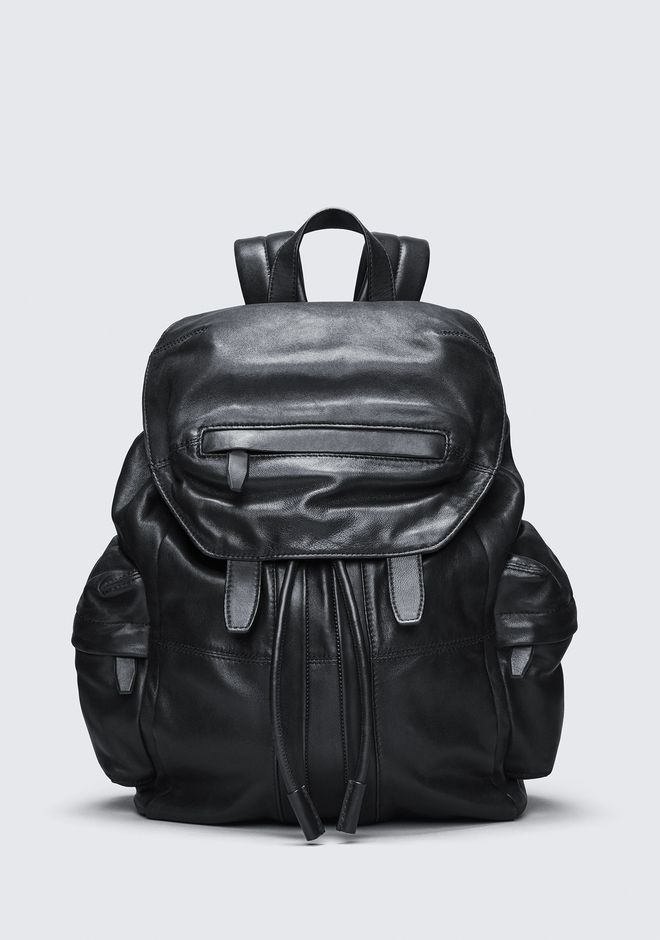 ALEXANDER WANG BACKPACKS MARTI BACKPACK IN WASHED BLACK WITH MATTE BLACK