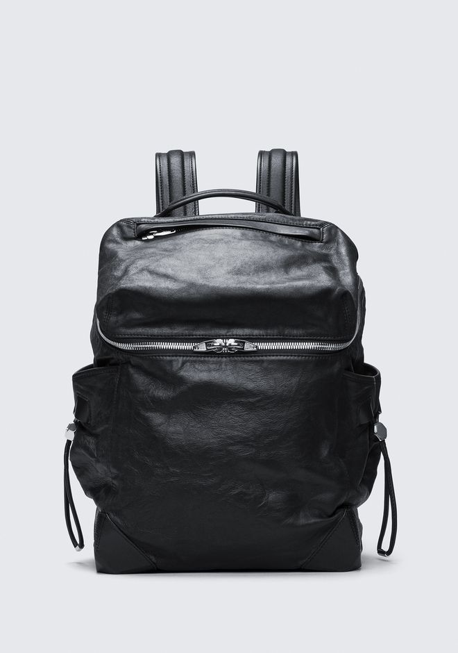 ALEXANDER WANG BACKPACKS Men SMALL WALLIE BACKPACK IN WAXY BLACK WITH RHODIUM