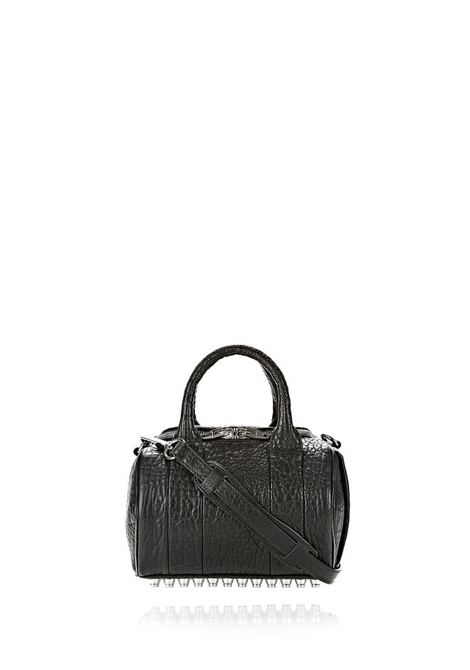 ALEXANDER WANG sacs-classiques MINI ROCKIE IN PEBBLED BLACK WITH RHODIUM