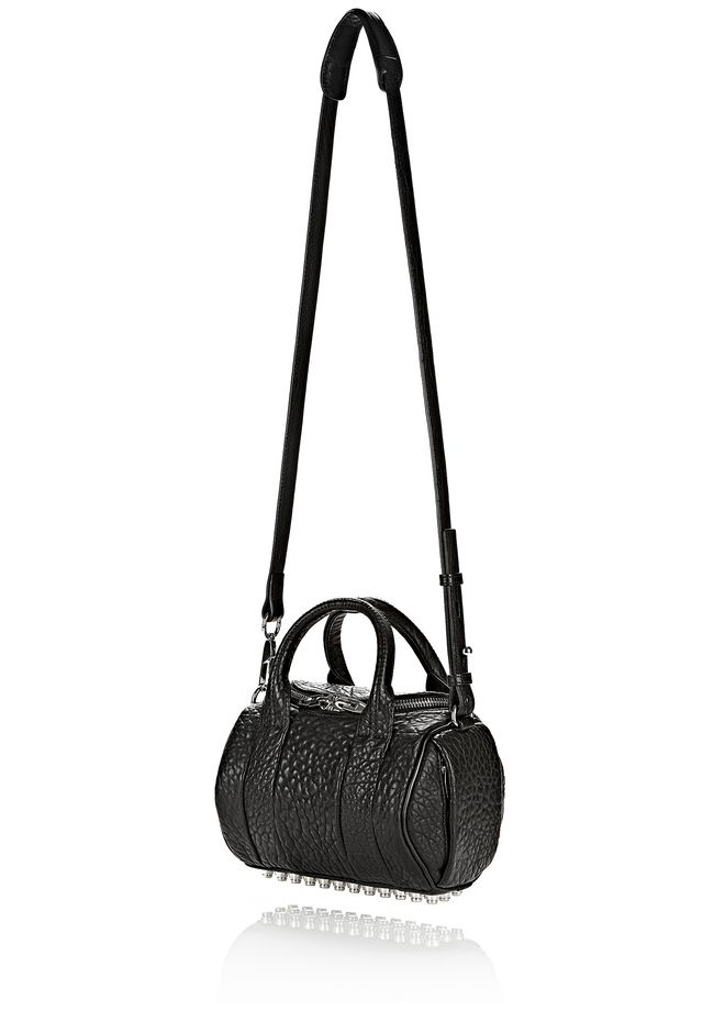 ALEXANDER WANG MINI ROCKIE IN PEBBLED BLACK WITH RHODIUM   Schultertasche Adult 12_n_a