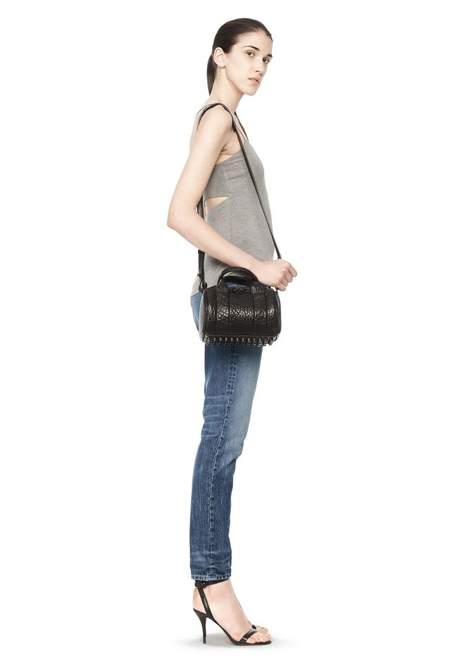 ALEXANDER WANG MINI ROCKIE IN PEBBLED BLACK WITH RHODIUM   Schultertasche Adult 12_n_r