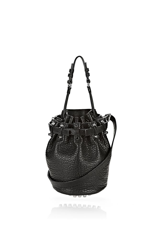 ALEXANDER WANG bags-classics SMALL DIEGO IN PEBBLED BLACK WITH RHODIUM