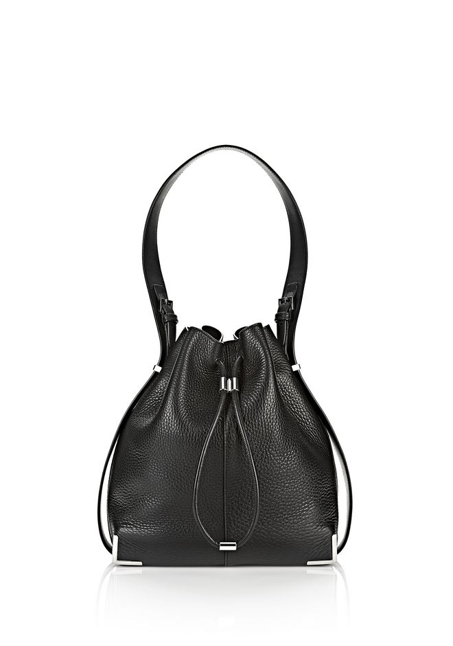 ALEXANDER WANG Shoulder bags Women PRISMA DRAWSTRING HOBO IN BLACK WITH RHODIUM