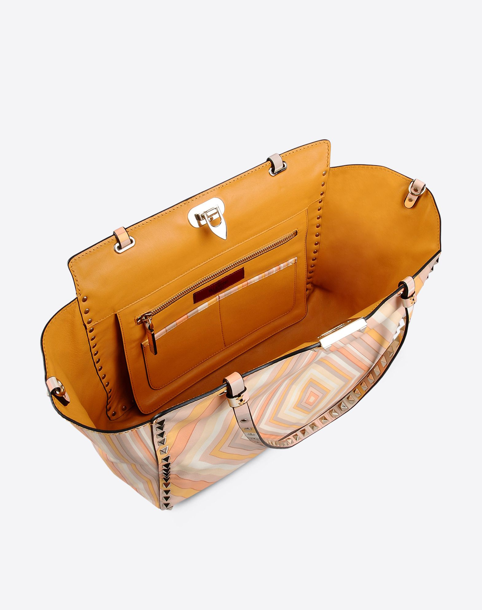 VALENTINO Logo detail Studs Multicolor Pattern Framed closure Double handle Leather lining Removable shoulder strap  45280746an