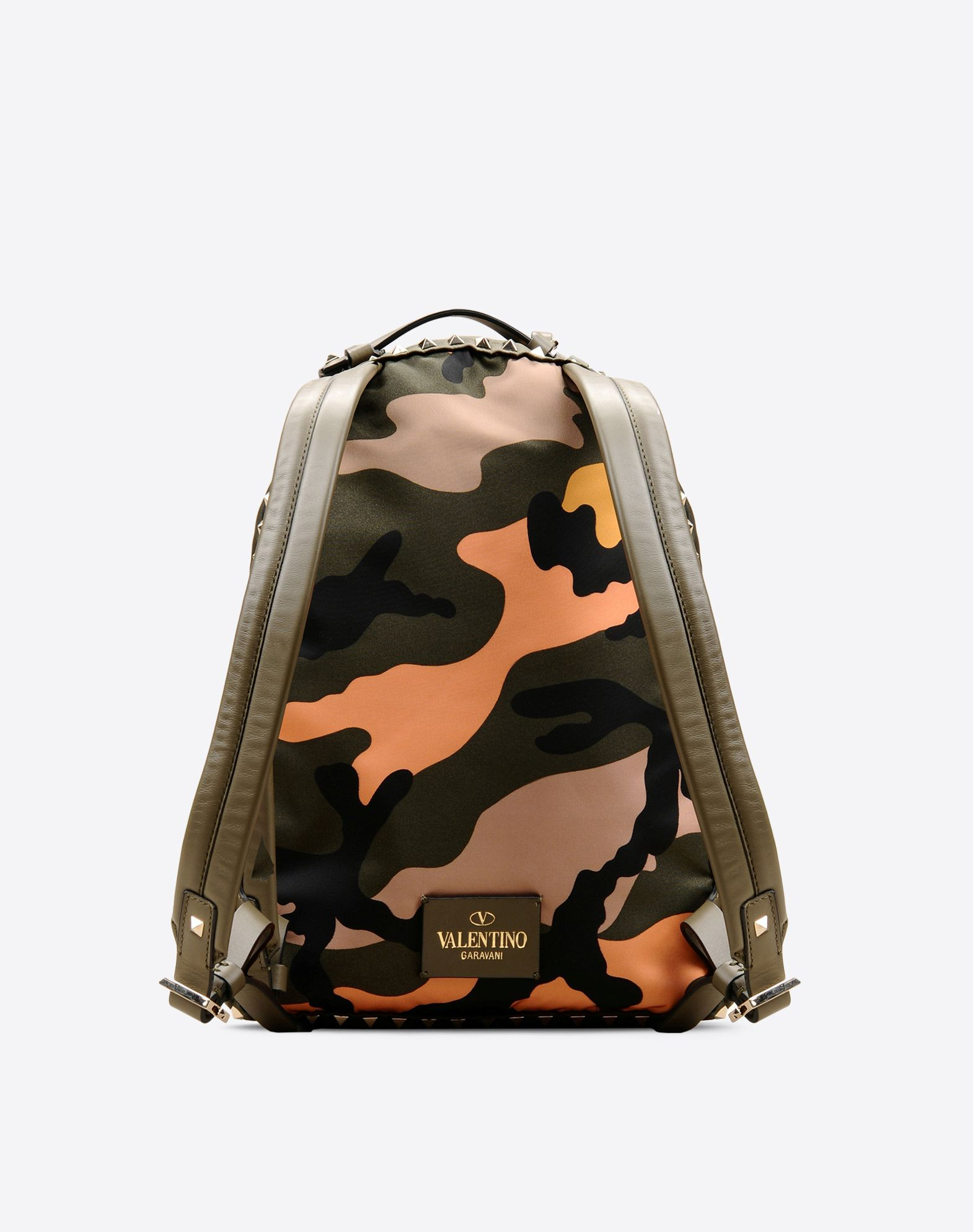 VALENTINO Logo detail Studs Techno fabric Camouflage design Zip closure Lined interior  45280752nq