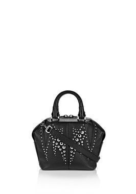 STUDDED MINI EMILE IN PEBBLED BLACK WITH RHODIUM