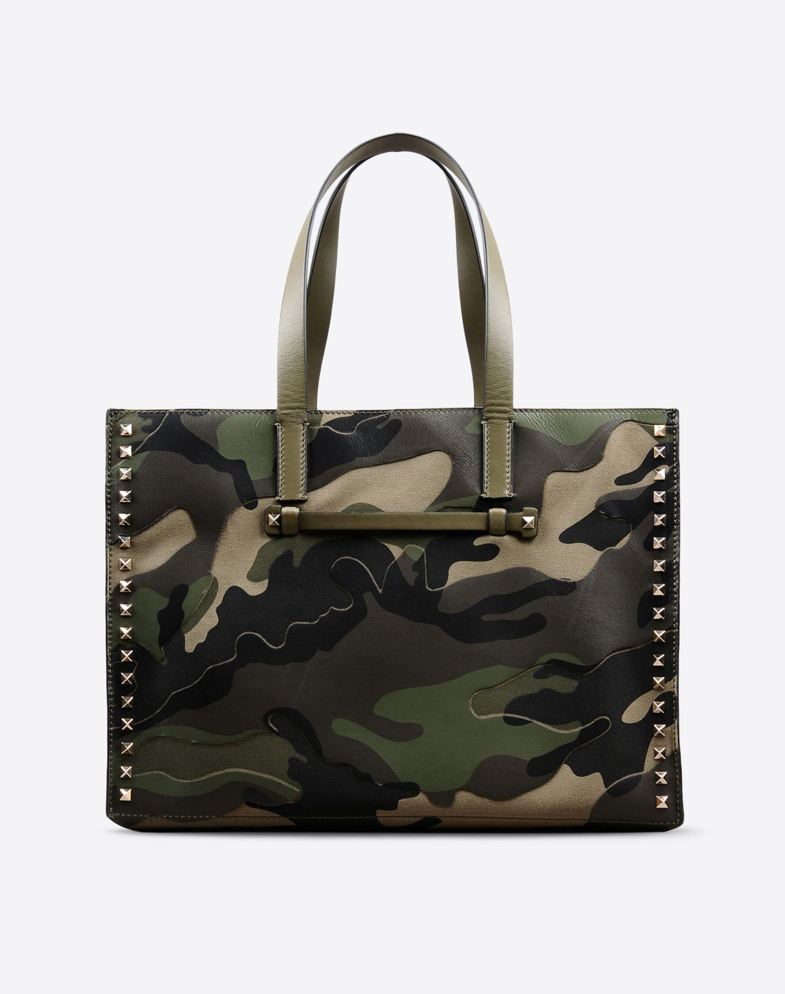 VALENTINO Double handle Studs Logo detail Camouflage design Magnetic closure Internal zip pocket Plain weave  45282874dk