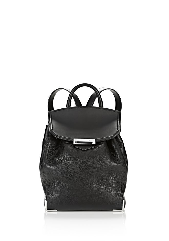 ALEXANDER WANG BACKPACKS Women PRISMA BACKPACK IN PEBBLED BLACK WITH RHODIUM