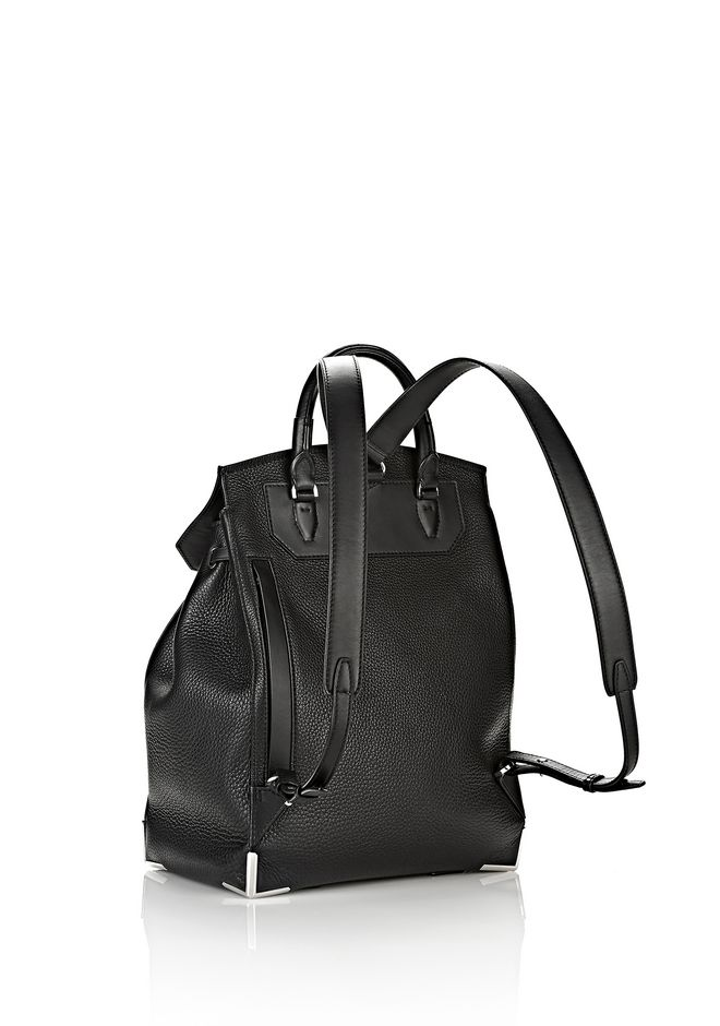 ALEXANDER WANG PRISMA BACKPACK IN PEBBLED BLACK WITH RHODIUM  BACKPACK Adult 12_n_e