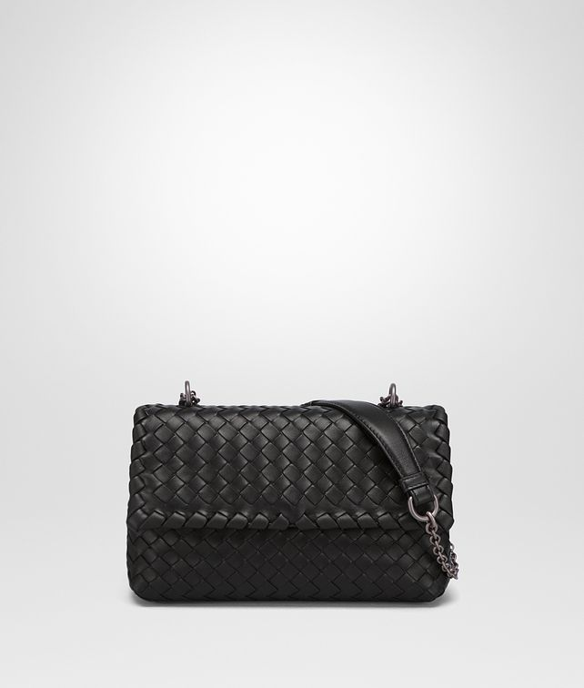 BOTTEGA VENETA BABY OLIMPIA BAG IN NERO INTRECCIATO NAPPA Shoulder Bags Woman fp