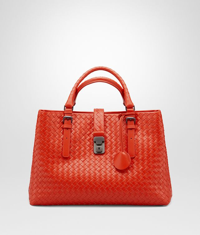 Bottega Veneta Medium Roma Bag In Vesuvio Intrecciato Calf Top Handle