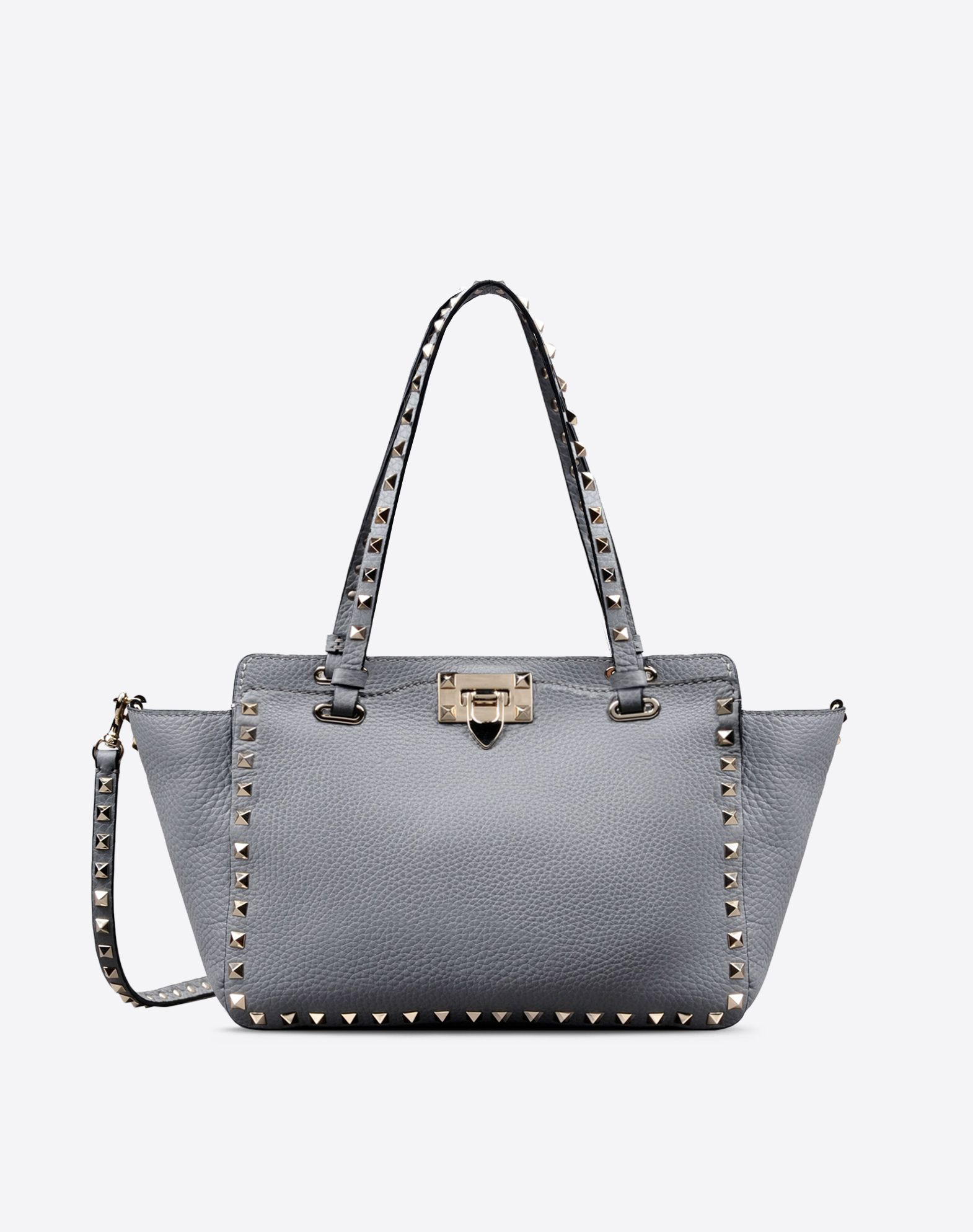 VALENTINO Studs Logo Double handle Textured leather Solid color Removable shoulder strap  45283818mq