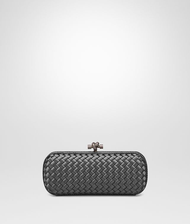 BOTTEGA VENETA STRETCH KNOT IN NEW LIGHT GREY INTRECCIO IMPERO, AYERS DETAILS Clutch [*** pickupInStoreShipping_info ***] fp