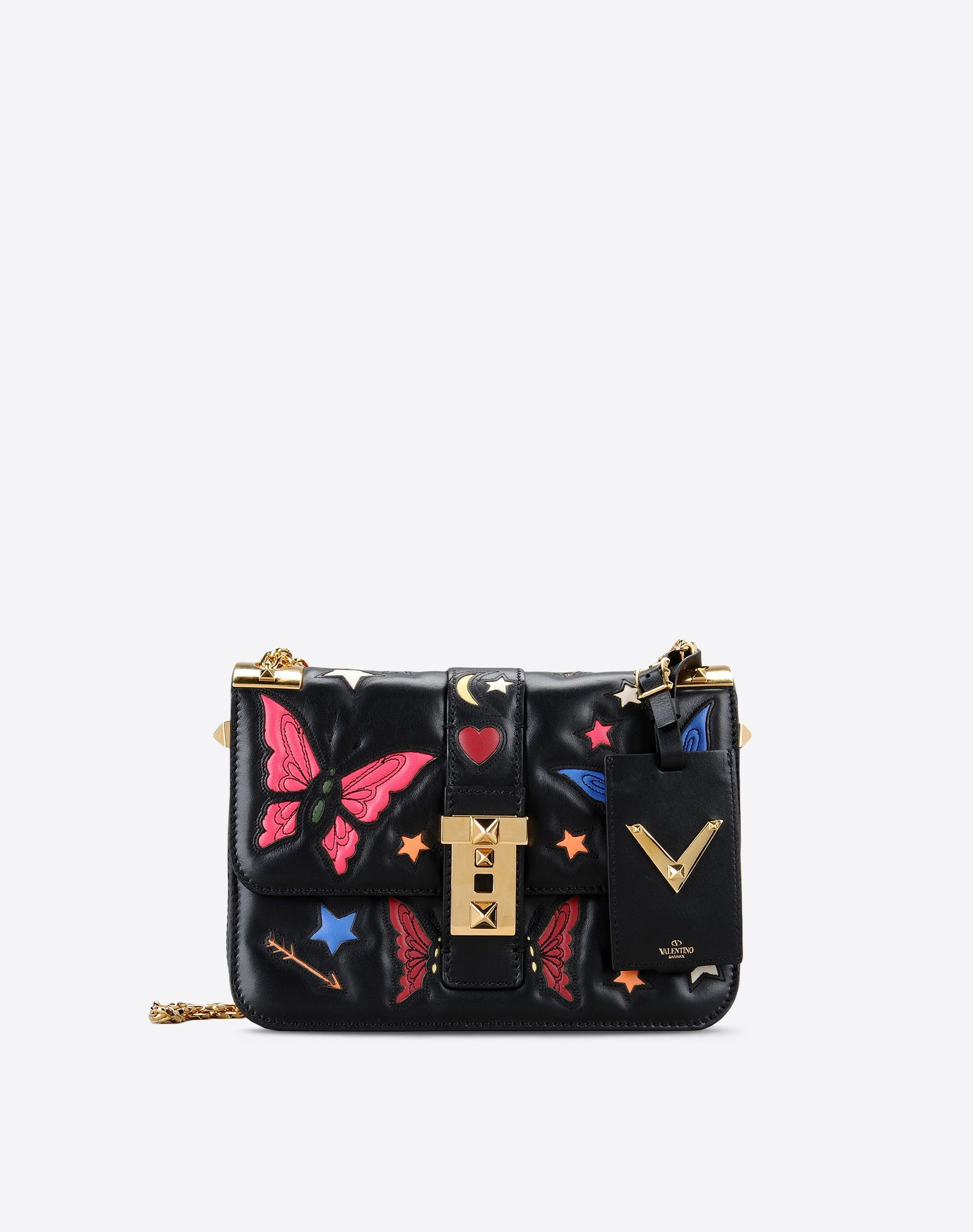 VALENTINO Contrasting applications Logo Multicolour Pattern Framed closure Internal compartments Metallic straps  45285518ea