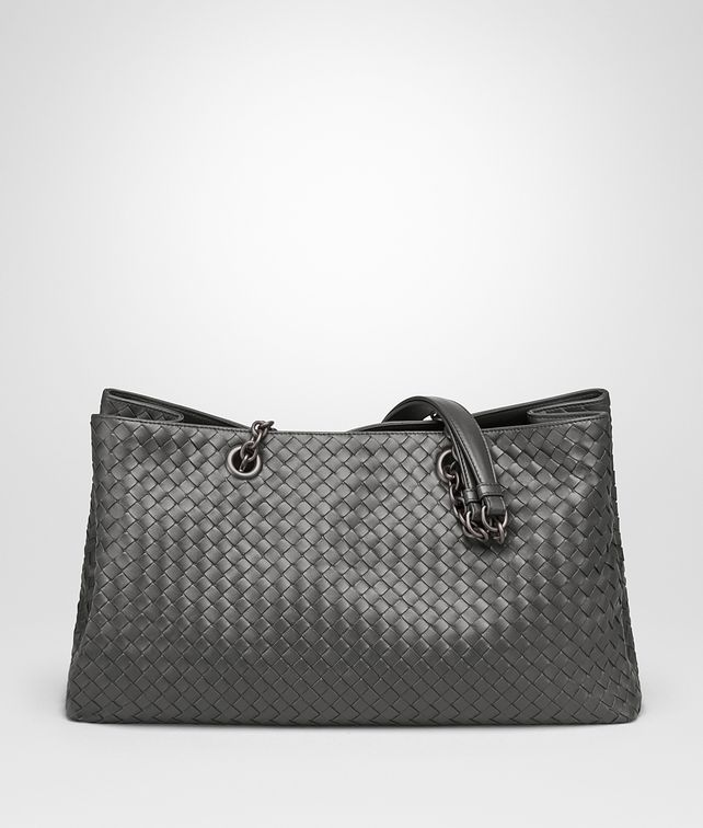 BOTTEGA VENETA LARGE TOTE BAG IN NEW LIGHT GRAY INTRECCIATO NAPPA Top Handle Bag Woman fp
