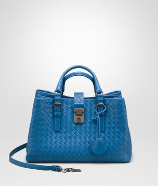 SMALL ROMA BAG IN BLUETTE INTRECCIATO CALF