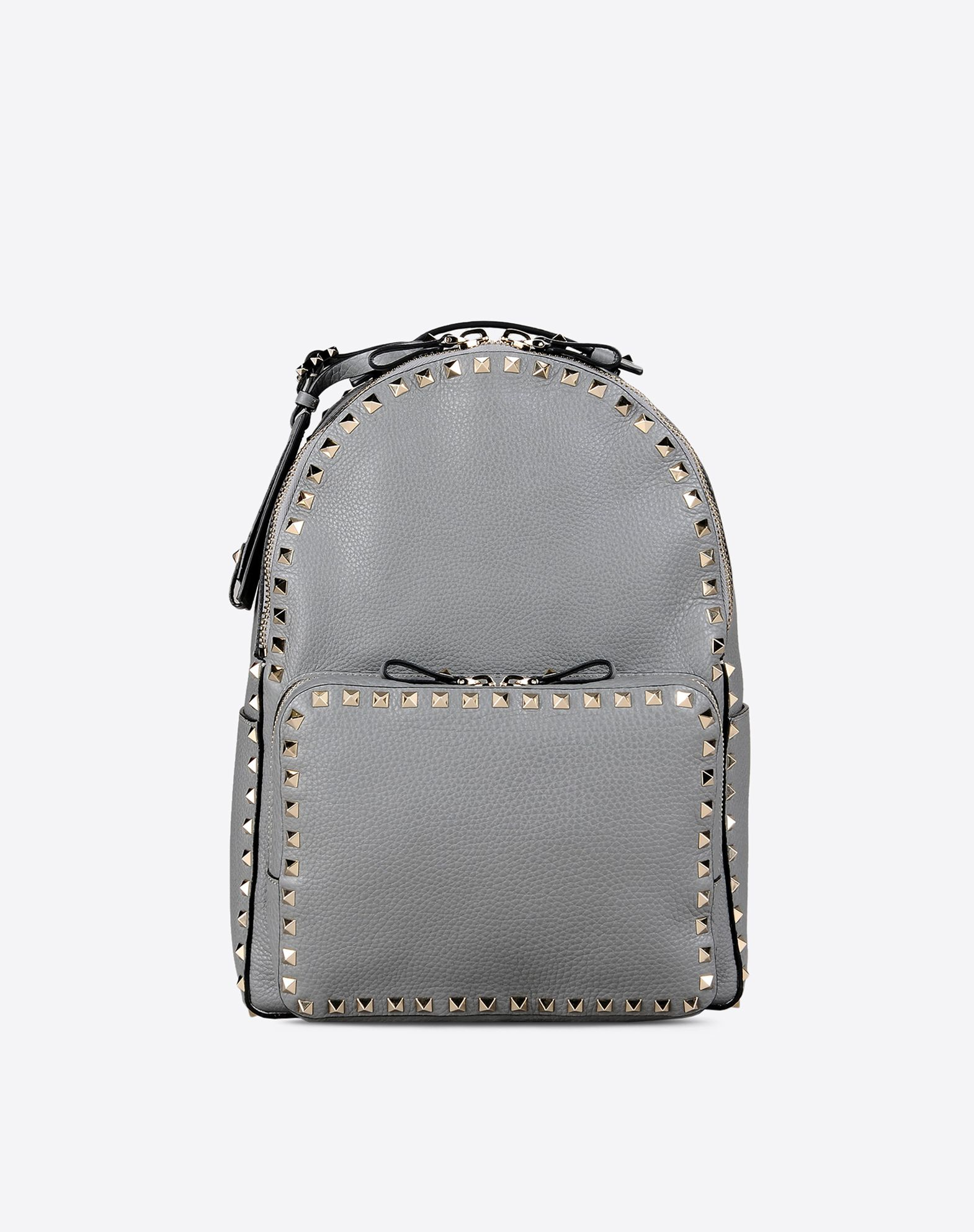 VALENTINO Logo Studs Textured leather Solid color Zip closure External pockets Unlined  45285784nb
