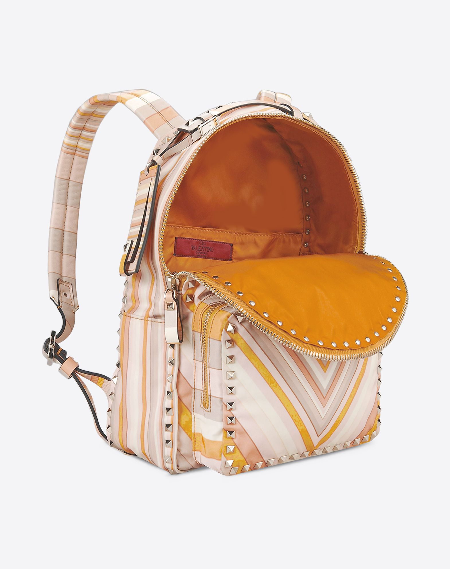 VALENTINO Studs Leather applications Twill Stripes Zip closure External pocket Lined interior Logo  45285976rm