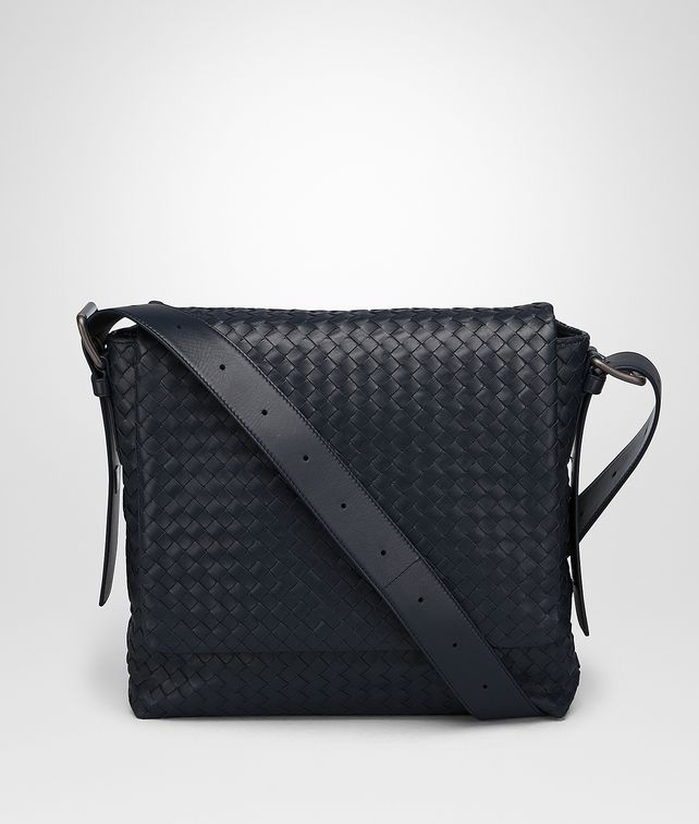BOTTEGA VENETA MESSENGER BAG IN PRUSSE INTRECCIATO CALF Messenger Bag [*** pickupInStoreShippingNotGuaranteed_info ***] fp