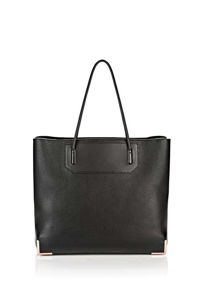 ALEXANDER WANG TOTES/DEL Women PRISMA LARGE TOTE IN PEBBLED BLACK WITH ROSE GOLD