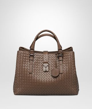 MEDIUM ROMA BAG IN NEW CIGAR INTRECCIATO CALF