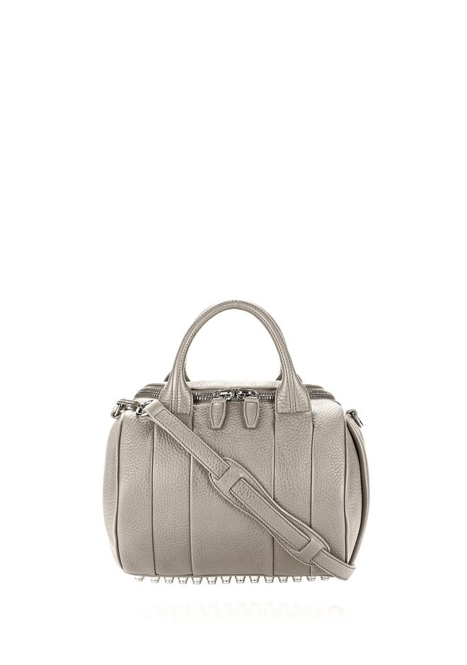 ALEXANDER WANG rockie-rocco ROCKIE IN PEBBLED OYSTER WITH RHODIUM