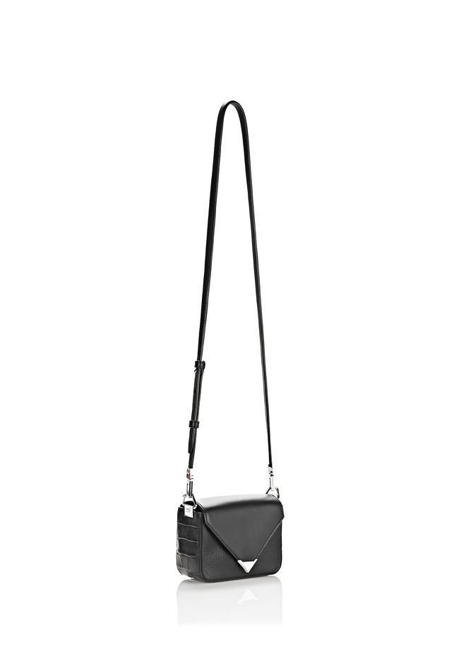 ALEXANDER WANG MINI PRISMA ENVELOPE SLING IN CROC EMBOSSED BLACK WITH RHODIUM Shoulder bag Adult 12_n_e