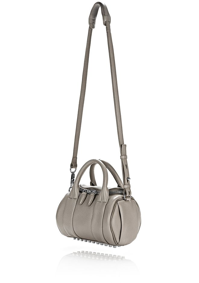 ALEXANDER WANG MINI ROCKIE IN PEBBLED OYSTER WITH RHODIUM Shoulder bag Adult 12_n_e