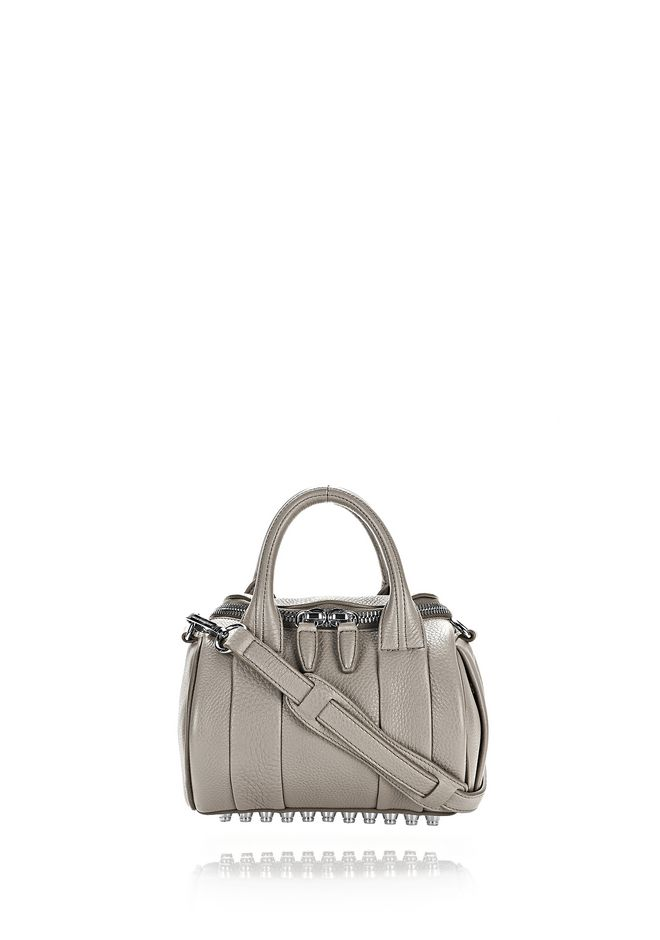 ALEXANDER WANG MINI ROCKIE IN PEBBLED OYSTER WITH RHODIUM Shoulder bag Adult 12_n_f