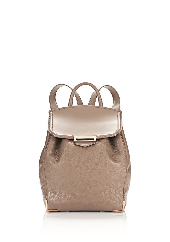 ALEXANDER WANG BACKPACKS PRISMA BACKPACK IN PEBBLED LATTE WITH ROSE GOLD