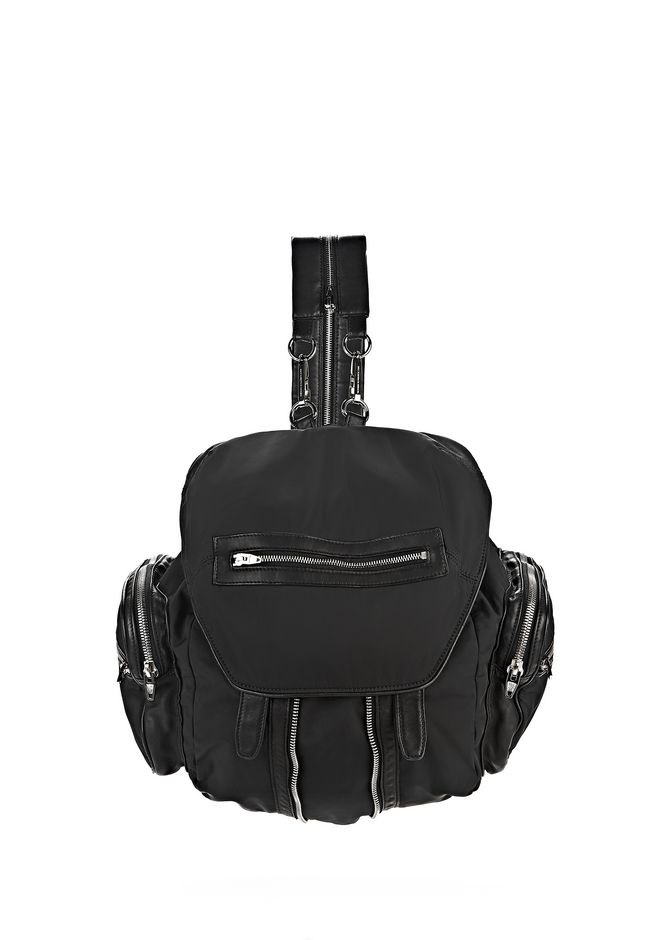 ALEXANDER WANG BACKPACKS Women MARTI IN BLACK LEATHER AND NYLON WITH RHODIUM