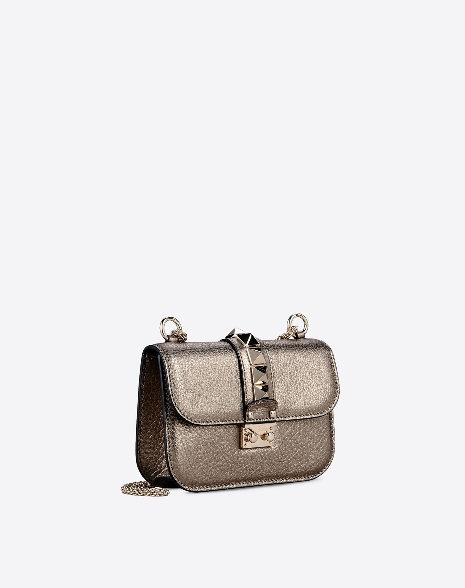 VALENTINO Double handle Studs Logo Laminated effect Solid color Framed closure Internal zip pocket  45296885qt