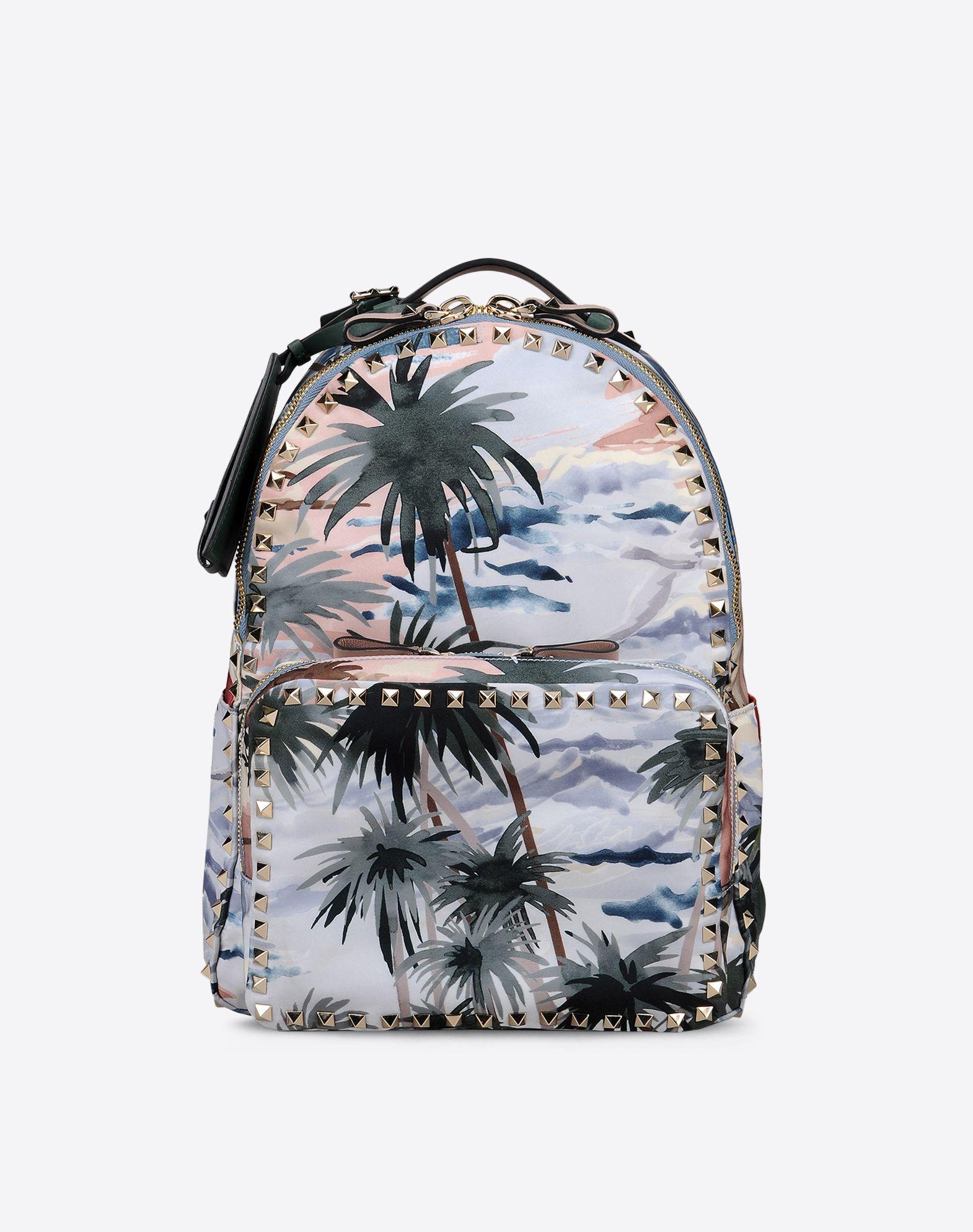 VALENTINO Studs Techno fabric Hawaiian design Zip closure External pocket Internal pocket Logo  45297389ni