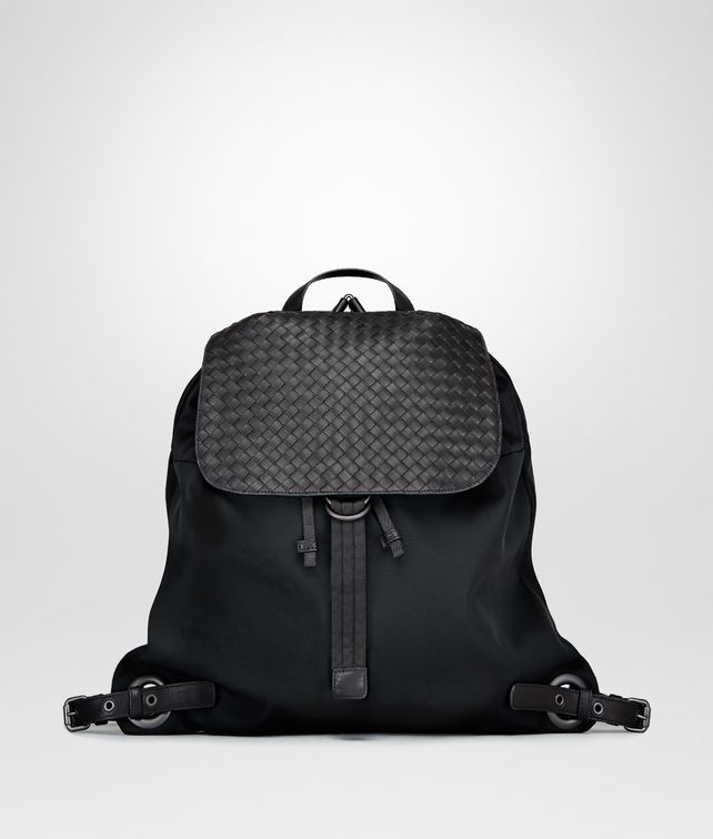 BOTTEGA VENETA ZAINO IN TECHNICAL CANVAS NERO E VITELLO INTRECCIATO Borsa Messenger U fp