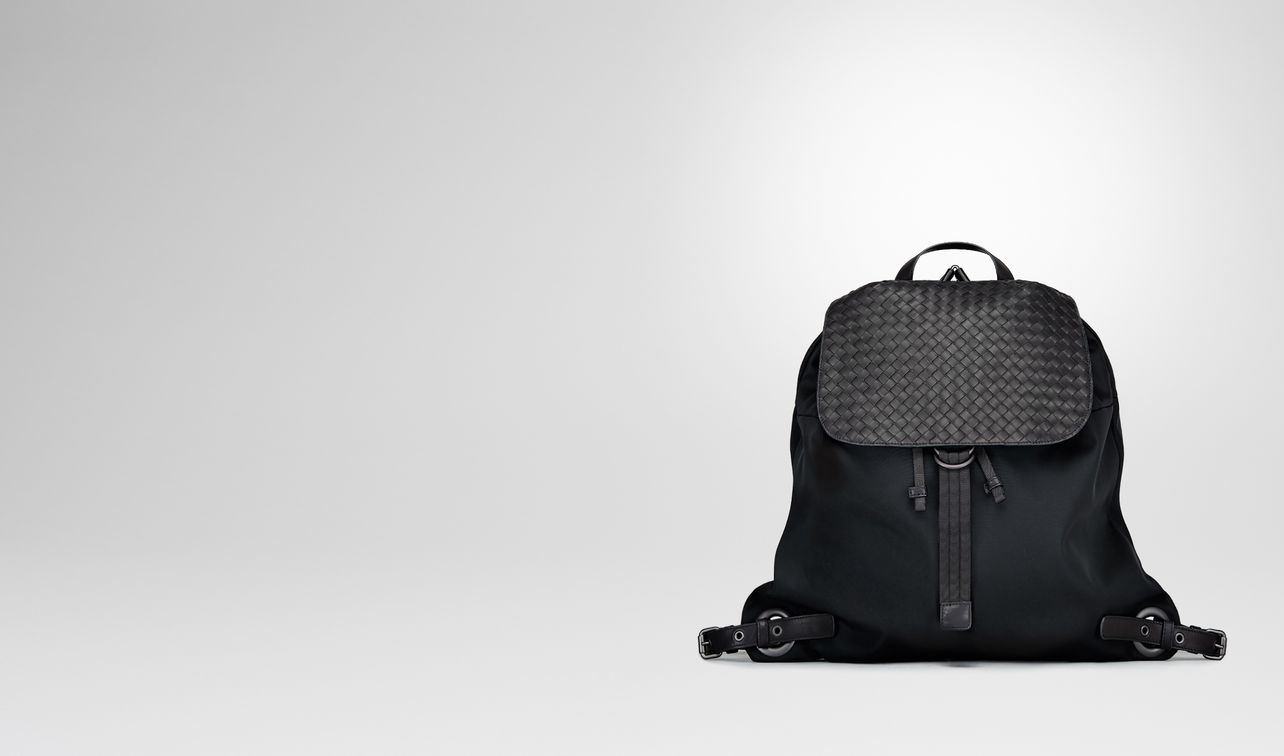 backpack in nero technical canvas and intrecciato calf landing