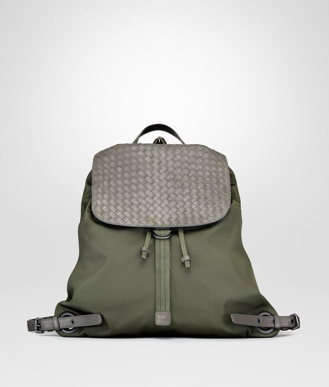 459c96cf3cf4 BOTTEGA VENETA BACKPACK IN DARK SERGEANT TECHNICAL CANVAS AND NEW LIGHT  GREY INTRECCIATO CALF Messenger Bag