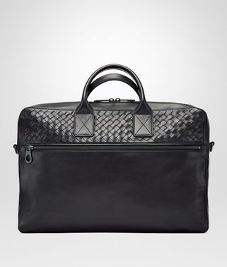 BRIEFCASE IN NERO CALF WITH INTRECCIATO DETAILS