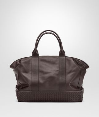 TOTE BAG IN ESPRESSO CALF WITH INTRECCIATO DETAILS