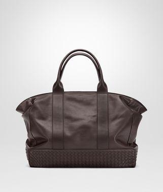 咖啡棕小牛皮饰编织细节购物袋