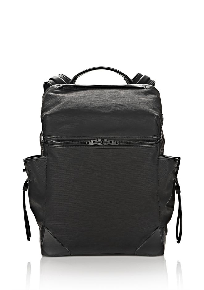 ALEXANDER WANG BACKPACKS Men SMALL WALLIE BACKPACK IN RUBBERIZED CANVAS WITH MATTE BLACK