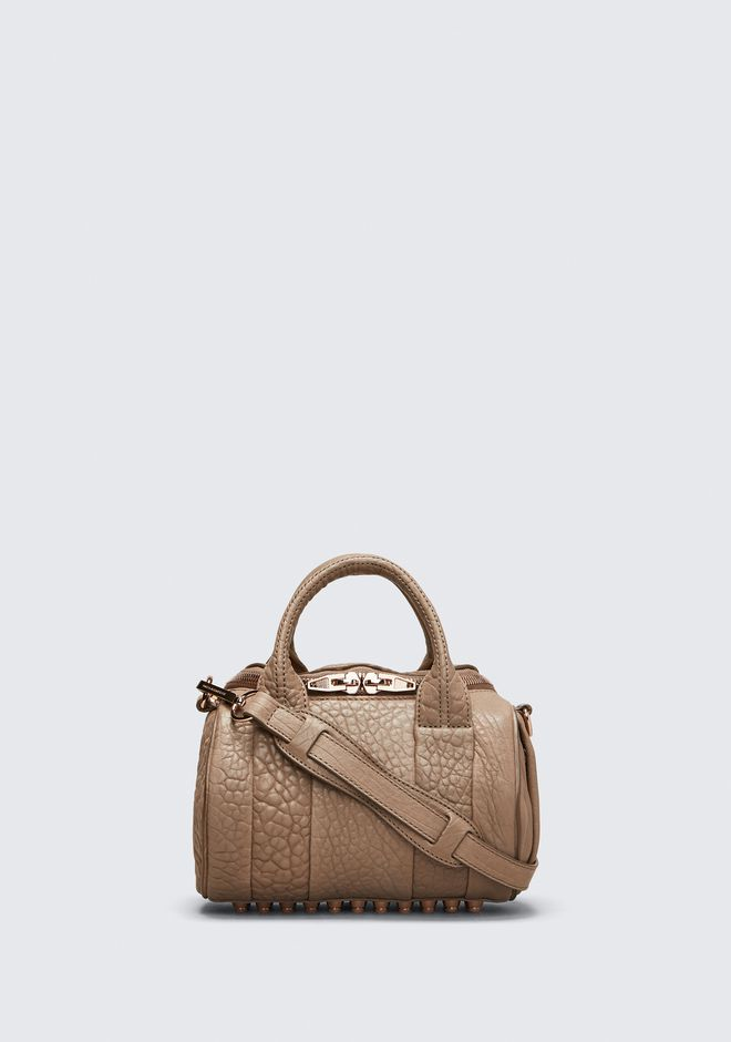 ALEXANDER WANG bags-classics MINI ROCKIE IN PEBBLED LATTE WITH ROSE GOLD