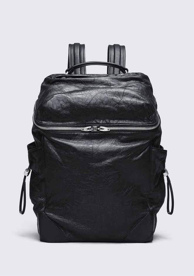 ALEXANDER WANG SACS À DOS WALLIE BACKPACK IN WAXY BLACK WITH RHODIUM