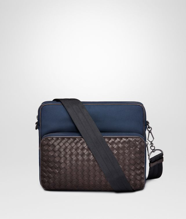 848ee0f802 BOTTEGA VENETA MESSENGER BAG IN TOURMALINE TECHNICAL CANVAS AND ESPRESSO  INTRECCIATO CALF Messenger Bag
