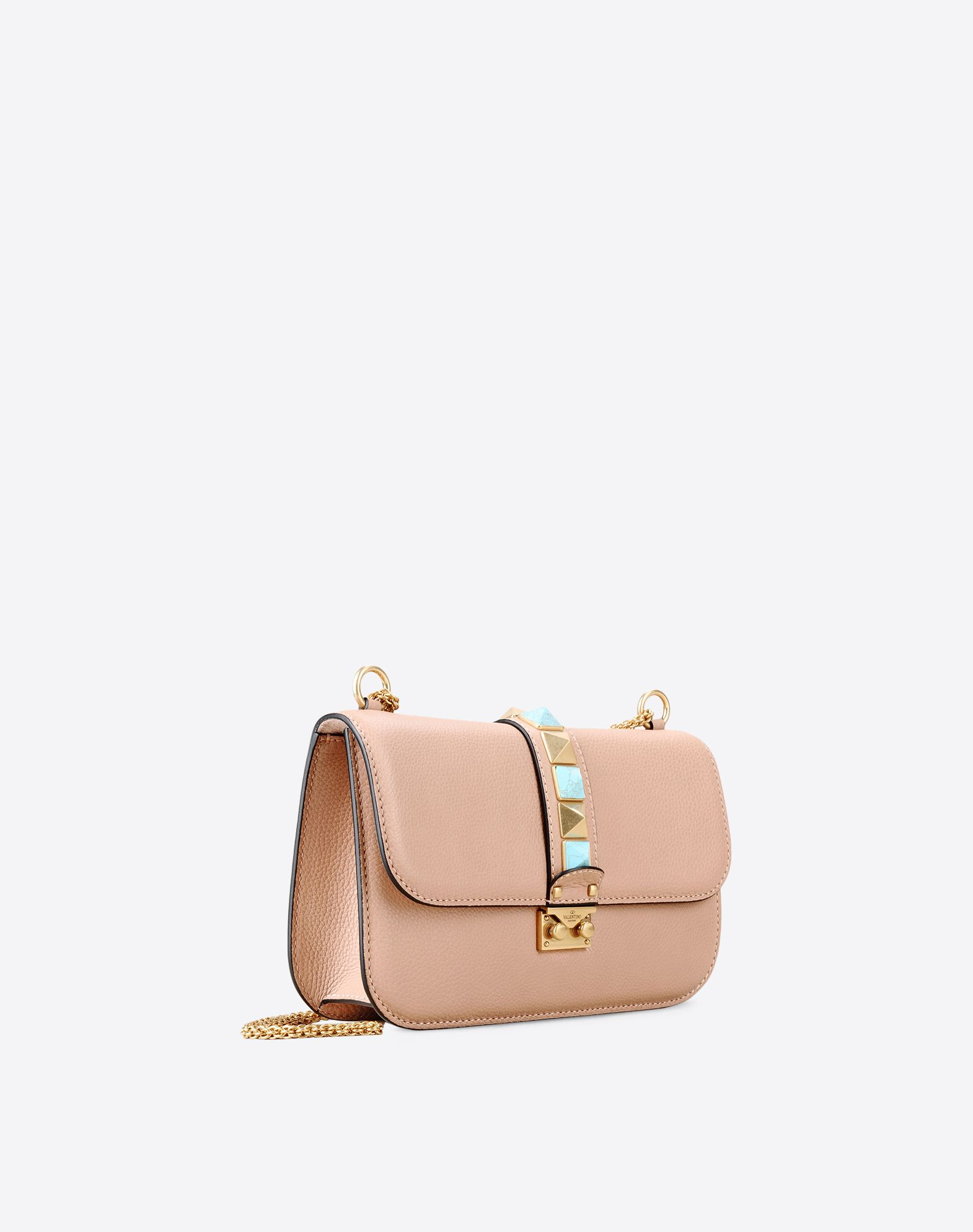 VALENTINO Double handle Studs Logo Textured leather Framed closure Internal zip pocket  45301359pg