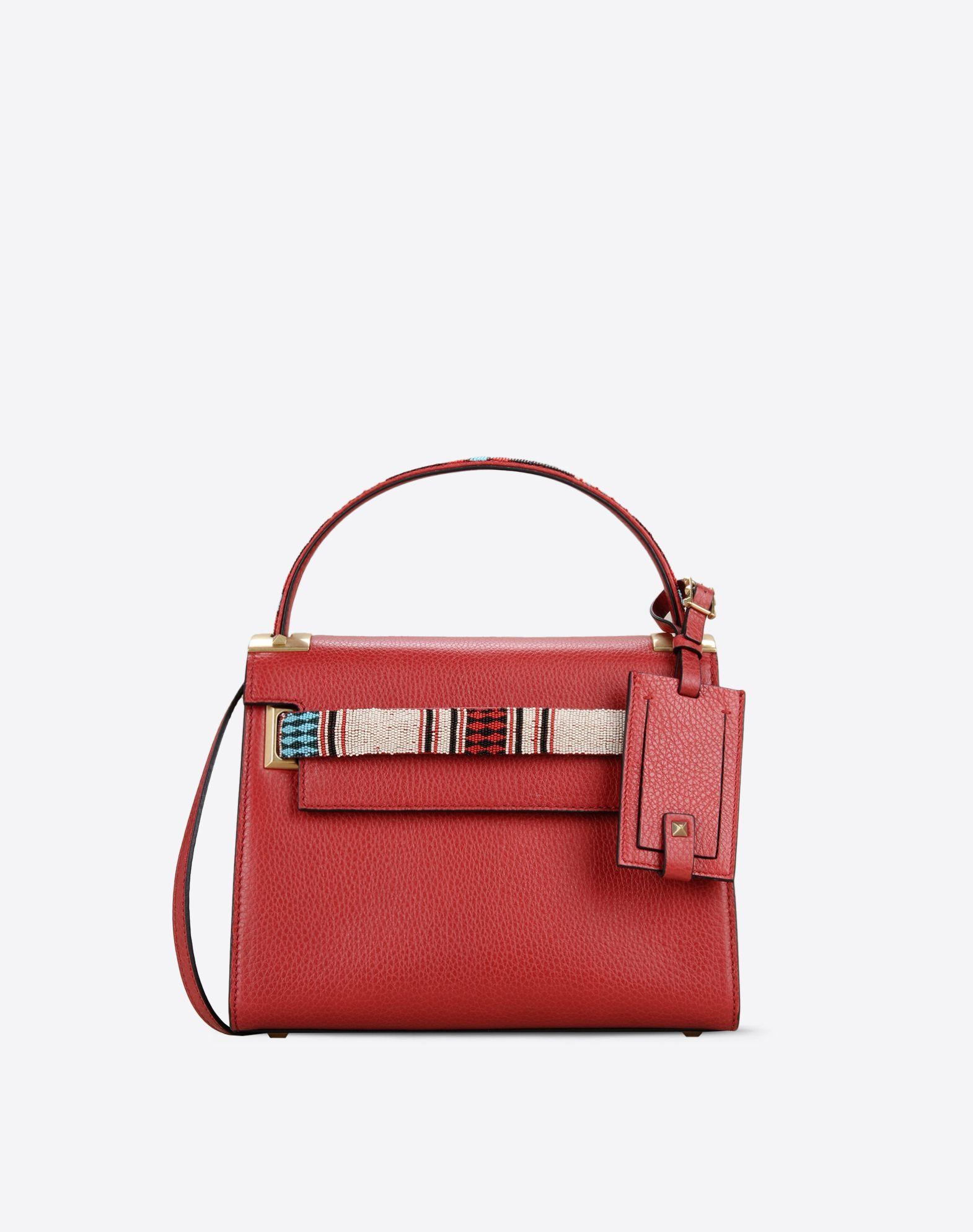 Valentino Garavani Red Leather Shoulder Bag Handbag W/ Front Pockets Iy85jtp2p