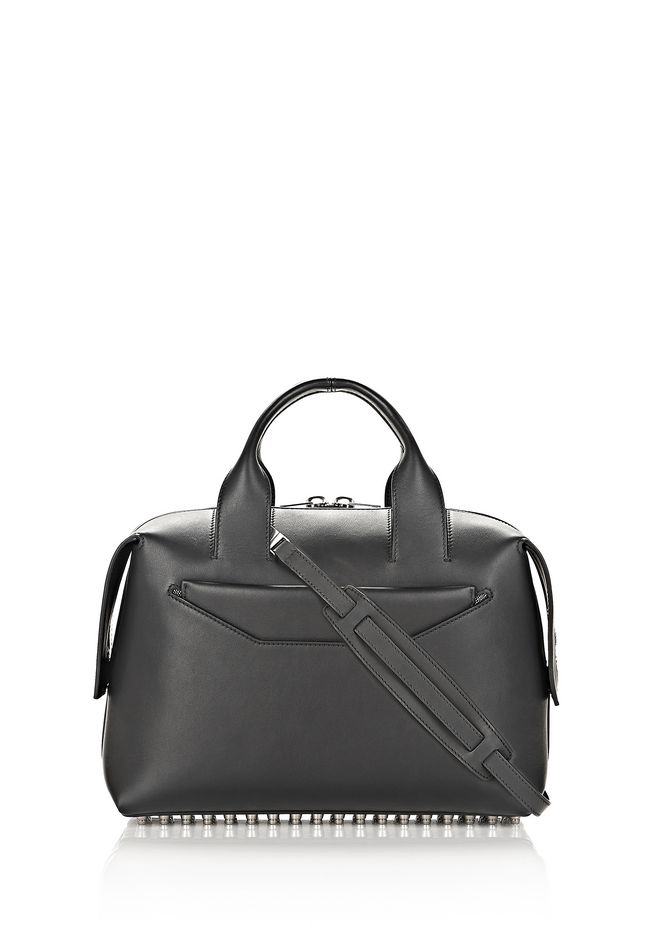 ALEXANDER WANG bags-classics ROGUE LARGE SATCHEL IN BLACK WITH RHODIUM
