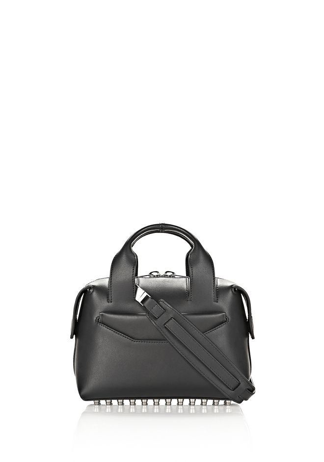 ALEXANDER WANG bags-classics ROGUE SMALL SATCHEL IN BLACK WITH RHODIUM