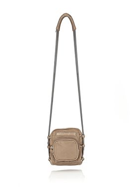 BRENDA CAMERA IN KHAKI LEATHER AND NYLON