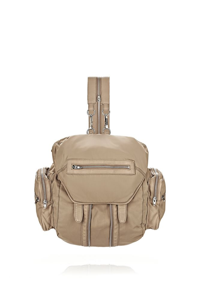 ALEXANDER WANG BACKPACKS Women MARTI IN KHAKI LEATHER AND NYLON WITH RHODIUM